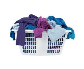 laundry basket with dirty laundry in it