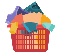 Messy laundry in basket animation